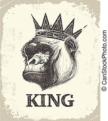Monkey Face With Like A Boss Inscription Hand drawn Vector...