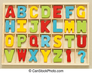 Colorful wooden English alphabet set in wood box.
