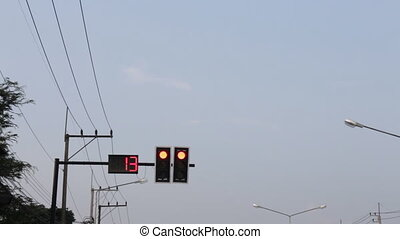 Countdown red light traffic signal, stock video