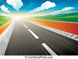 Morning at Road - Road speed landscape in the morning vector...