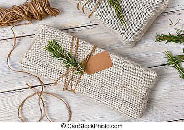 Fabric Wrapped Christmas Presents