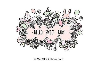 Hello Sweet Baby Girl Vector