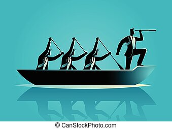Businessmen rowing the boat