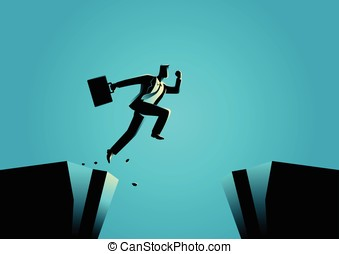 Businessman jumps over the ravine - Silhouette illustration...