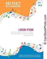 Colorfull music notes on a solide white background