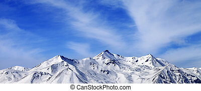 Panoramic view on winter snow mountains Caucasus Mountains,...