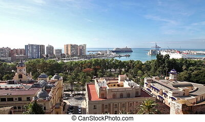 Cityscape of Malaga in Spain - Panoramic aerial view...