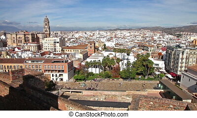 Malaga skyline in Spain - Panoramic aerial view of Malaga...