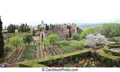 Alhambra fortress gardens - Gardens at Alhambra fortress of...