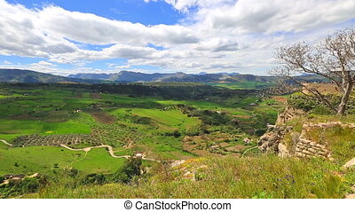 Ronda valley time lapse - Time lapse of the top panoramic...