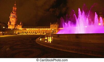 Plaza de Espana night panorama - 180 degree panoramic view...