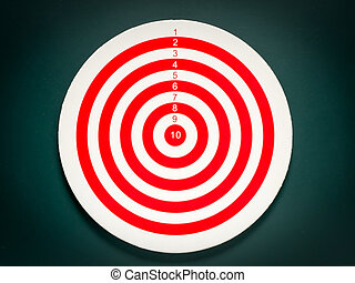 Classic dart target board. Red and white of dartboard on...