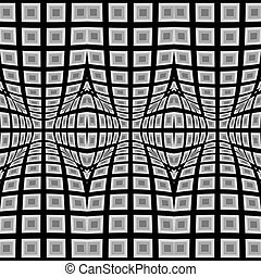 Design seamless warped geometric pattern Abstract monochrome...