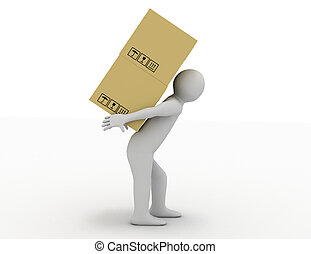 3d people - human character carry a big package 3d render...