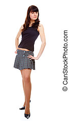 girl in short skirt - portrait of pretty slavonic girl in...