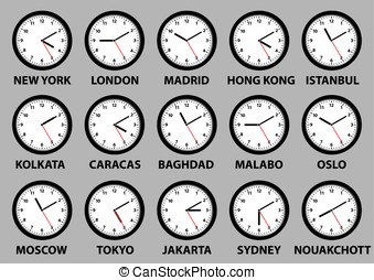 clock faces with time differences in some world cities