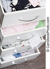 Messy clothes in wardrobe