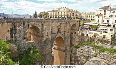 Puente Nuevo in Ronda - 180 degree panoramic view from...
