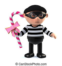 3d Burglar steals candy - 3d render of a burglar holding a...