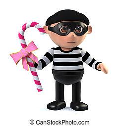 3d Burglar steals candy - 3d render of a burglar holding a...