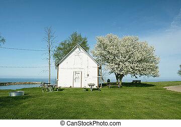 Shore of Lake Huron, Michigan, USA - Lake shore at Pointe...