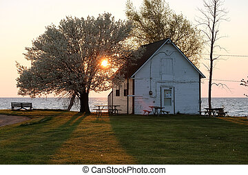 Sunrise at Lake Huron - Sunrise at Pointe aux Barques, Lake...