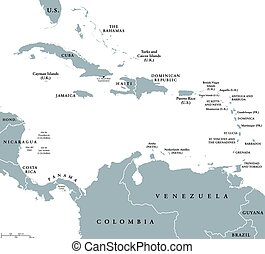 The Caribbean countries map - The Caribbean countries...