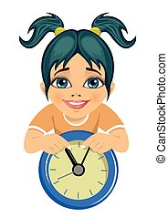 little cute girl showing arrows on the wall clock isolated...