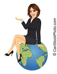 Young businesswoman sitting on top of Earth planet and showing something