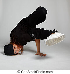 sporty girl - portrait of beautiful young breakdancer in...