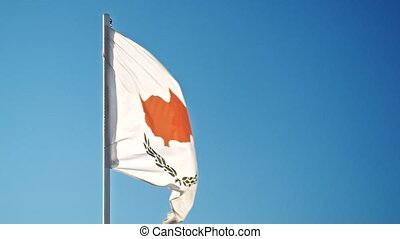 Flag of Cyprus. Cypriot official flag gently waving in the...