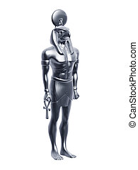 silver horus - silver Egypt horus statue isolated on white...