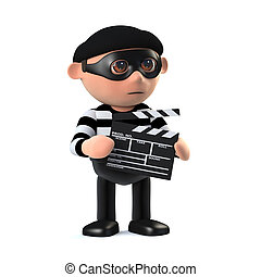 3d Burglar films the event - 3d render of a burglar holding...