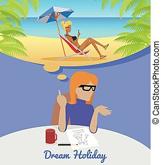 Woman Sitting and Dreaming About Rest Holiday.