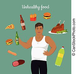 Junk Food Consumption. Man Before Weight Loss. - Unhealthy...