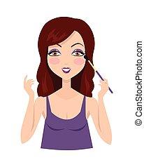 Girl Making Make up with Eyeshadow Brush.