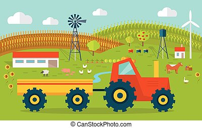 Eco Farm Conceptual Vector in Flat Style Design. - Eco farm...