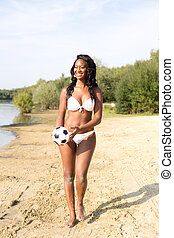bikini girl - Beautiful girl in her bikini playing with a...