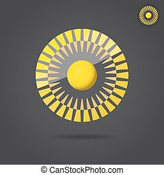 Abstract golden circle, connection icon, 2d vector...
