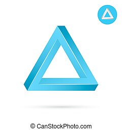 Delta letter icon, triangle shape, 3d vector illustration on...