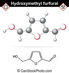 Hydroxymethylfurfural chemical structure and model, 2d and...