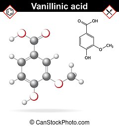 Vanillic acid molecule flavoring agent, chemical formula and...