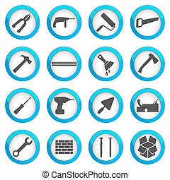 Home repair and renovation icon set, building and...