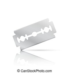 Realistic razor blade, front view with shadow and...