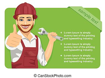 worker man wearing safety hard hat with wrench showing thumbs up in front of green blank board