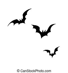 Black silhouettes of bats on a white background, pop art...