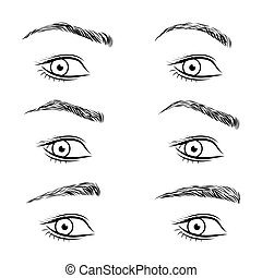 Set of different form eyebrows.