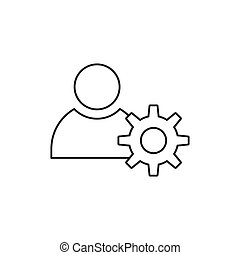 Outline people with gear icon isolated on white background