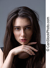 woman face on light grey background - beauty and skincare...