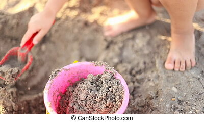 girl playing in the sand - little girl fills a bucket with...